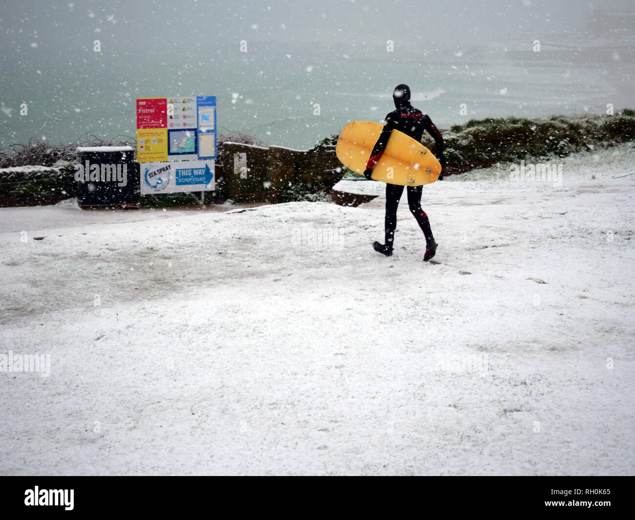 Newquay, Cornwall. 31st Jan 2019. UK Weather: Fistral Beach Surfer in the snow storm. Newquay, Cornwall, 31st January 2019. UK weather: Credit: Robert Taylor/Alamy Live News - Stock Image