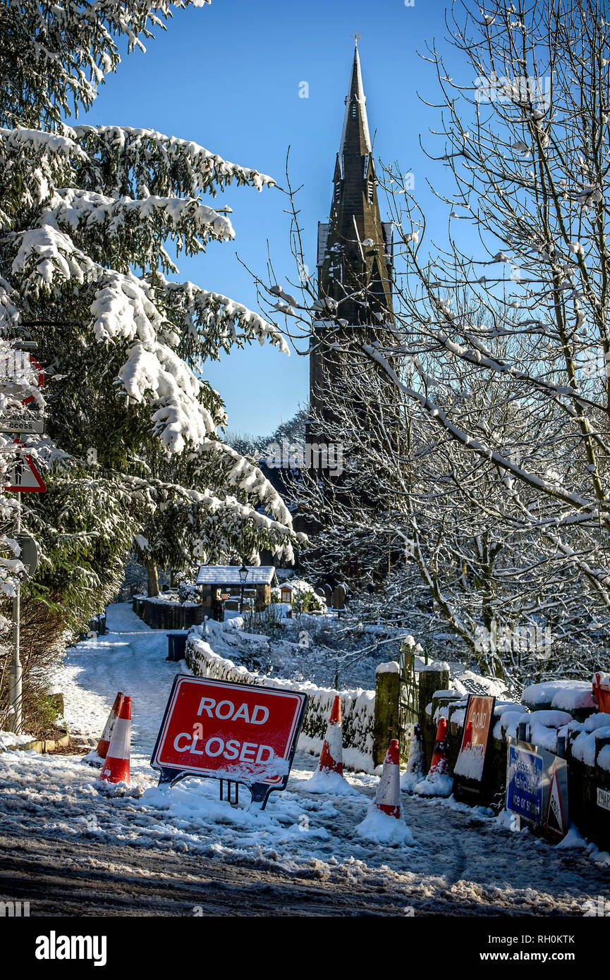 Heavy snow has brought about the closure of The Rake in Holcombe Village, Lancashire. The steep incline which connect the village to the town of Ramsbottom, is often forced to close because of the icy conditions. Picture by Paul Heyes, Thursday January 31, 2019. - Stock Image