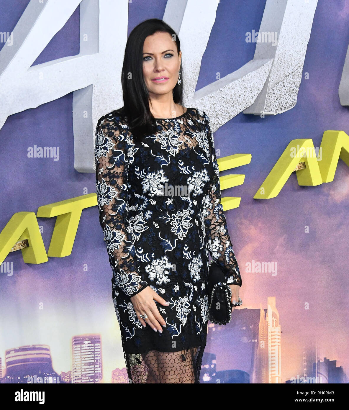 London, UK. 31st January, 2019. Linzi Stoppard at UK premiere of the adaptation of Alita, Battle Angel, a Manga comic which tells the story of a female cyborg discovered in a junk yard by a scientist, at Odeon Leicester Square Credit: Nils Jorgensen/Alamy Live News - Stock Image