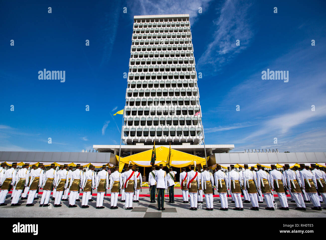 Beijing, Malaysia. 31st Jan, 2019. The welcome ceremony for Sultan Abdullah Sultan Ahmad Shah is held at the parliament in Kuala Lumpur, Malaysia, Jan. 31, 2019. Sultan Abdullah Sultan Ahmad Shah was sworn in as Malaysia's 16th king in a ceremony at the national palace on Thursday. Malaysia is a constitutional monarchy, with nine sultans or rulers, who head their respective state and act as the religious leader, taking turns to serve as the king for a five-year term. Credit: Zhu Wei/Xinhua/Alamy Live News - Stock Image