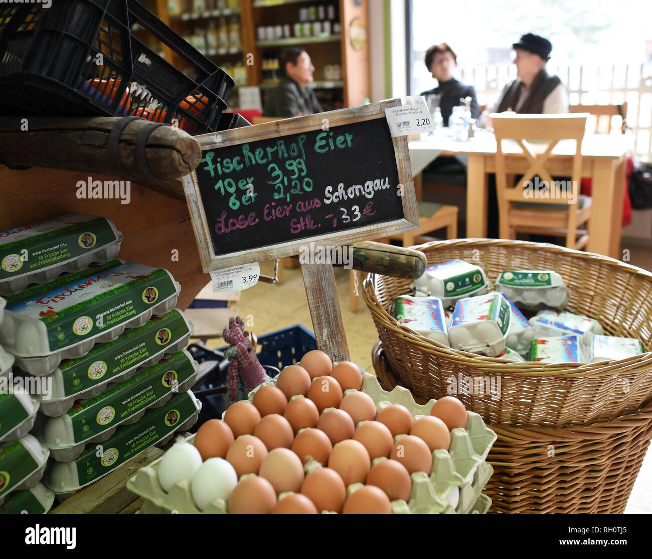 Farchant, Germany. 30th Jan, 2019. Loose eggs from the region can be bought in the village shop in Farchant. The Dorfladen has received the 'Dorfladen des Jahres' award from a trade association at the Green Week in Berlin. Credit: Angelika Warmuth/dpa/Alamy Live News - Stock Image