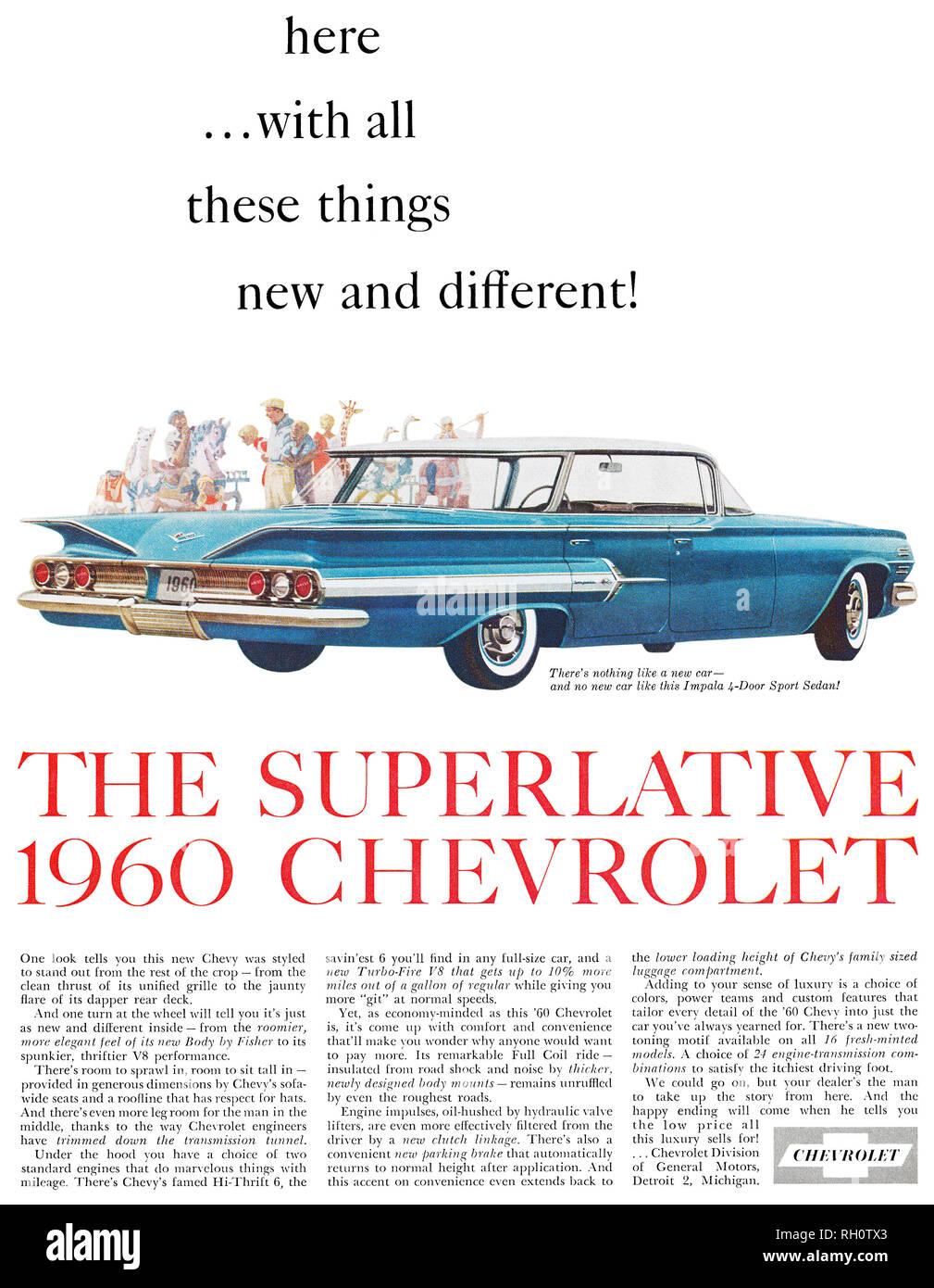 1959 U.S. advertisement for the 1960 Chevrolet, showing the Chevrolet Impala 4-door sport sedan. - Stock Image
