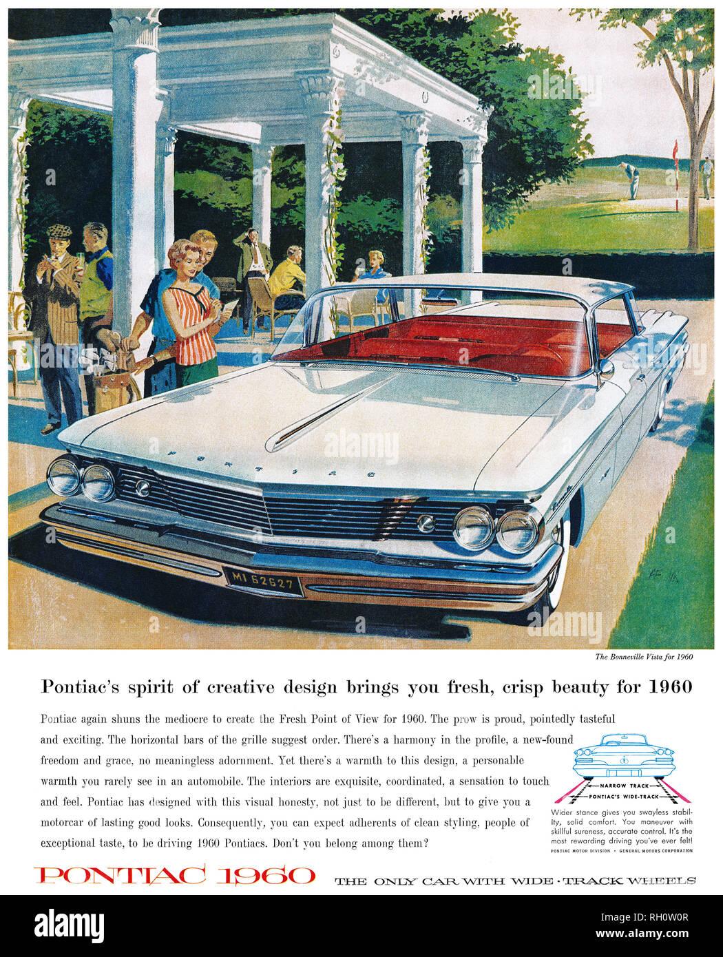 1959 U.S. advertisement for the 1960 Pontiac, showing the Bonneville Vista automobile. - Stock Image