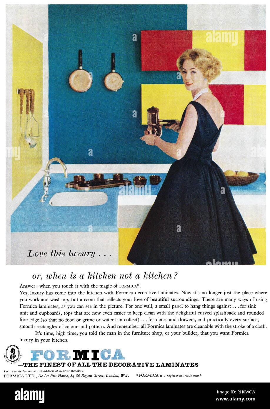 1961 British advertisement for Formica laminated plastic work surfaces. - Stock Image