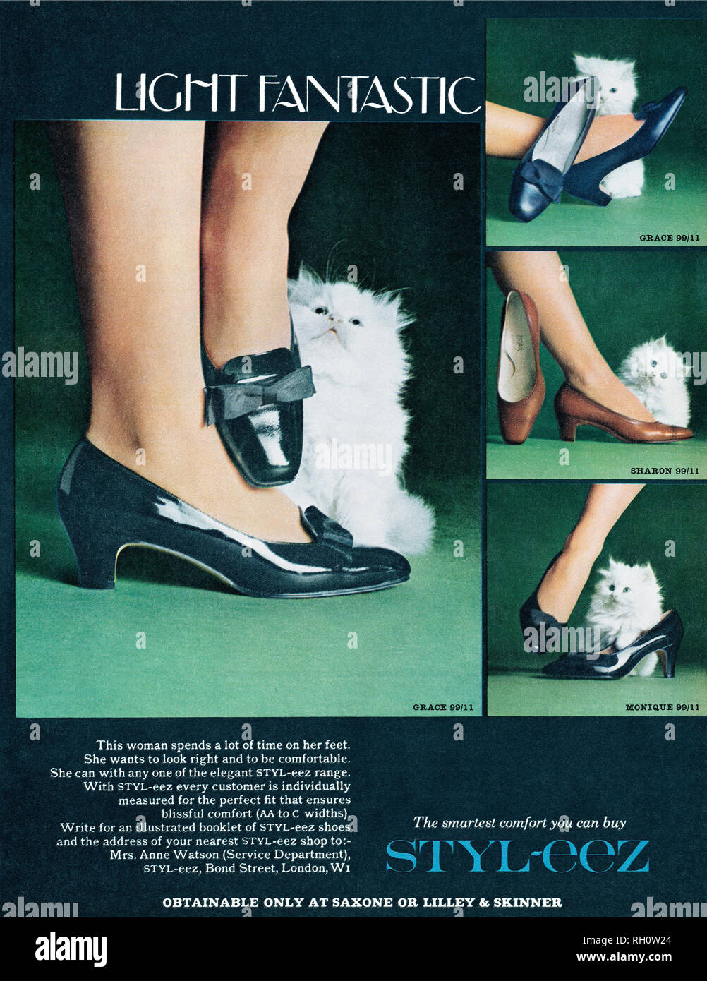 1968, British advertisement for Styl-Eez shoes. - Stock Image