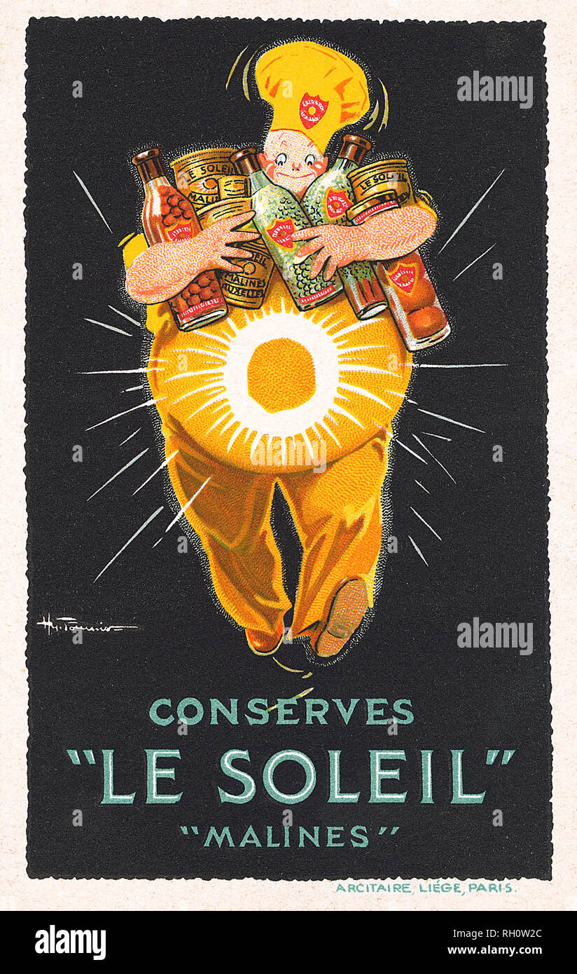 French advertising postcard for Le Soleil preserved foods. - Stock Image