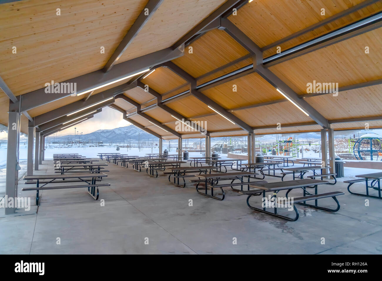Eating area near playground in Eagle Mountain Utah - Stock Image