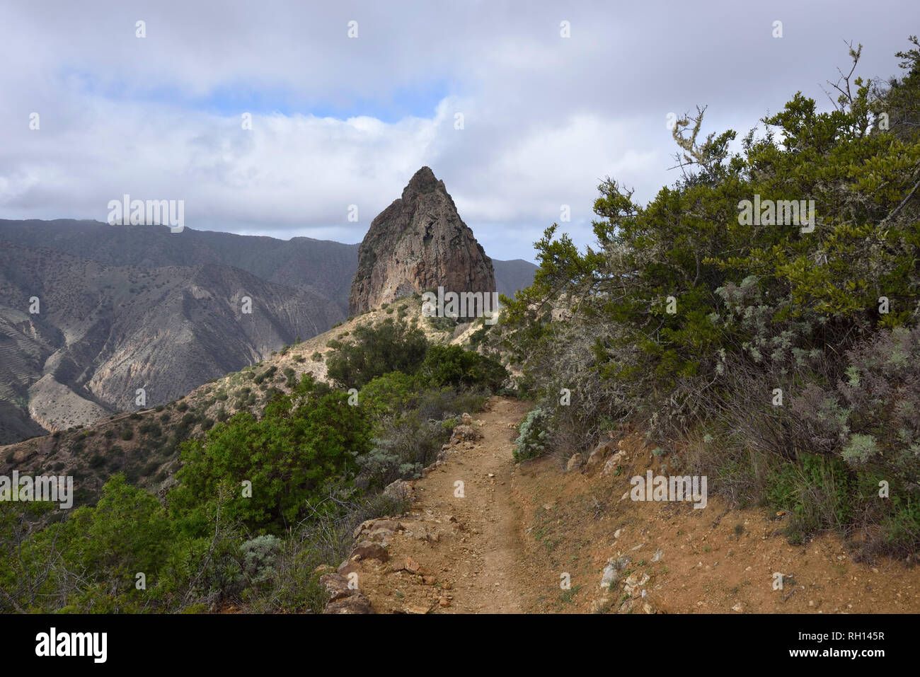hiking trail to Roque Cano, La Gomera, Canary Islands, Spain - Stock Image
