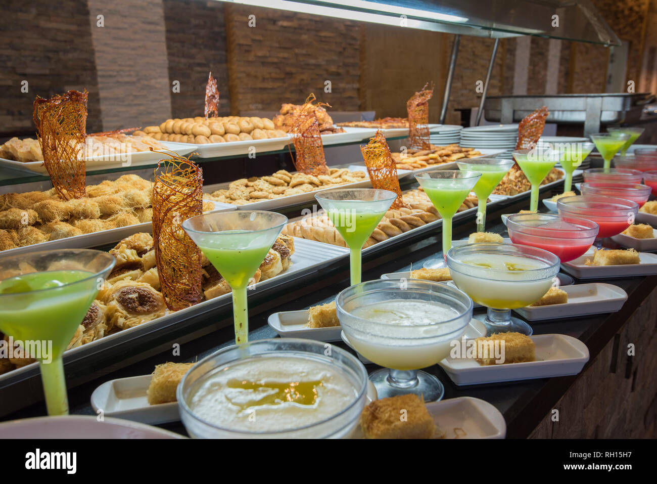 Selection Display Of Sweet Oriental Pastry Food And Desserts At A