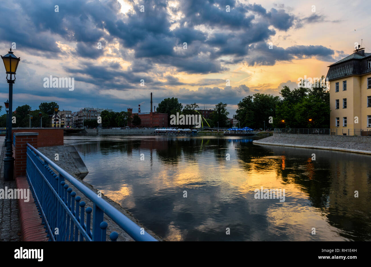 View on the islands (Slodowa) in Wroclaw, Poland Stock Photo
