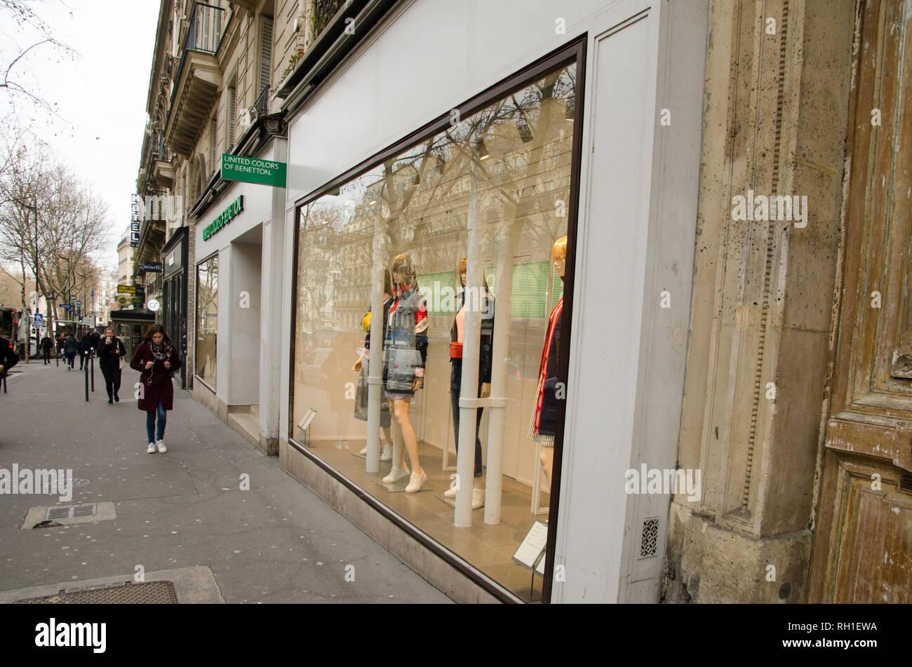 United Colors of Benetton windows shop in Boulevard Saint-Michel. Paris, January 28th, 2019 - Stock Image
