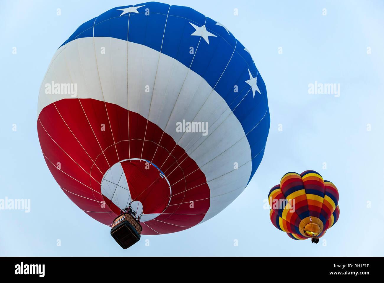 'Stars and stripes' hot air balloon, Albuquerque International Balloon Fiesta, Albuquerque, New Mexico USA - Stock Image