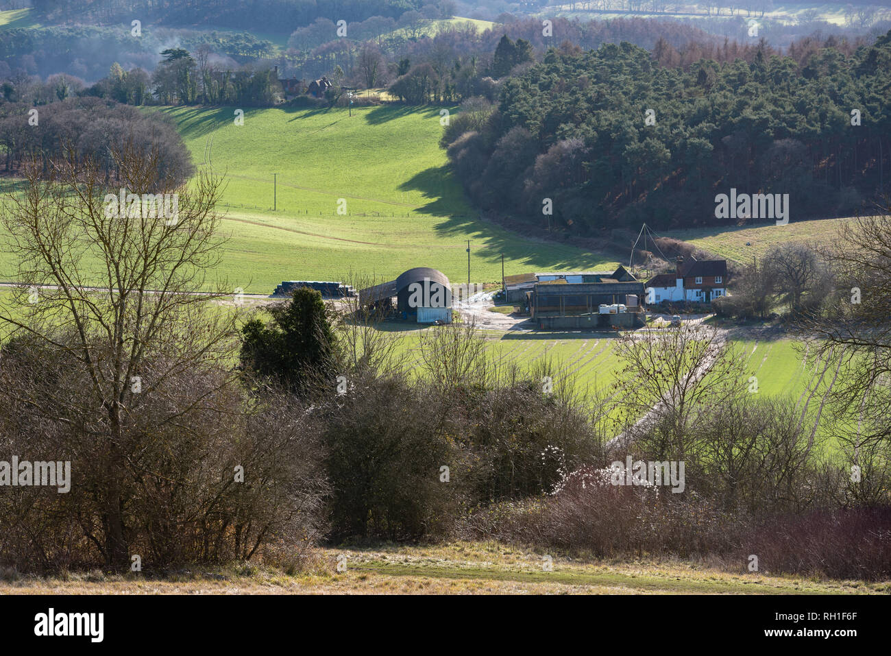 Views of the Surrey Hills from Newlands Corner on a sunny wintery afternoon. Stock Photo