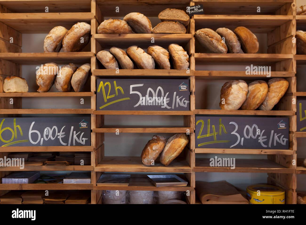 piles of bread, mercato metropolitano, milan, italy - Stock Image