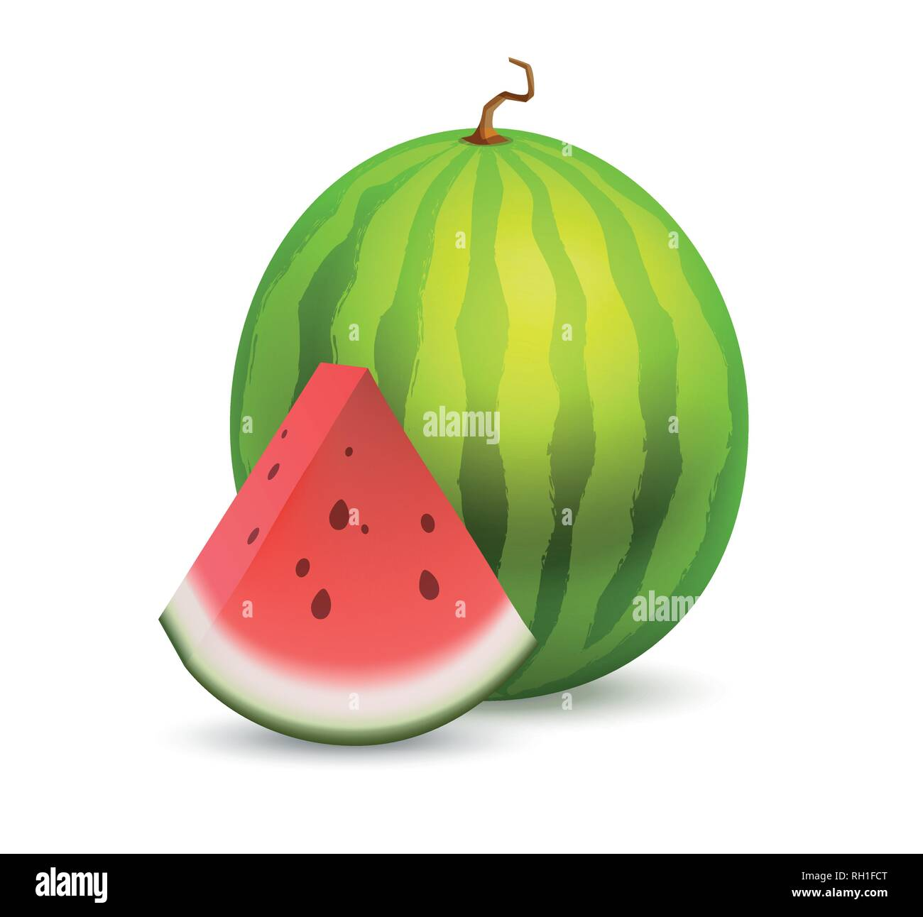 Whole beautiful Watermelon with a slice section of ripe fruit - Great vector icon of tasty fruit isolated on white. - Stock Vector