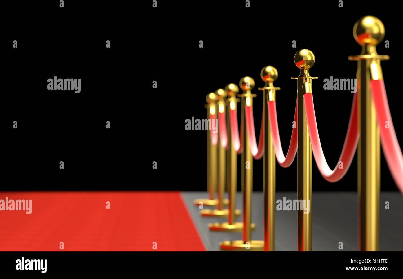 3d render background image of classic red carpet with barrier Stock Photo