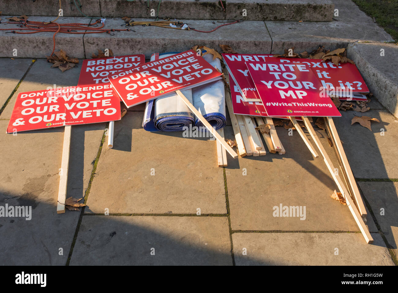 Anti-Brexit protesters in Abingdon Street, opposite the Houses of Parliament, London, UK. - Stock Image