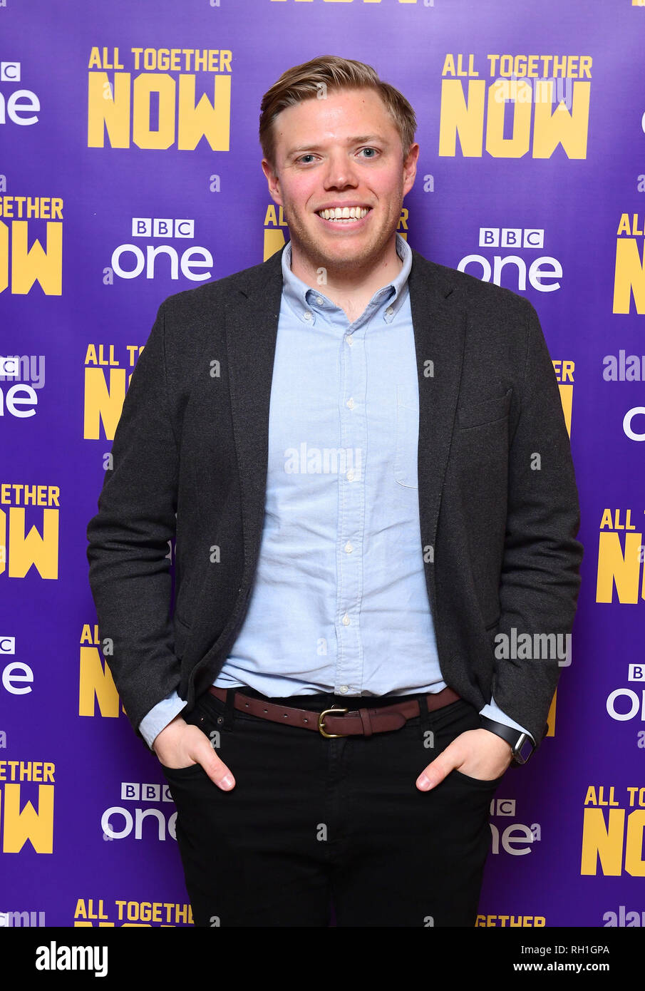 Rob Beckett in central London at the screening of their new BBC1 show, All Together Now. - Stock Image