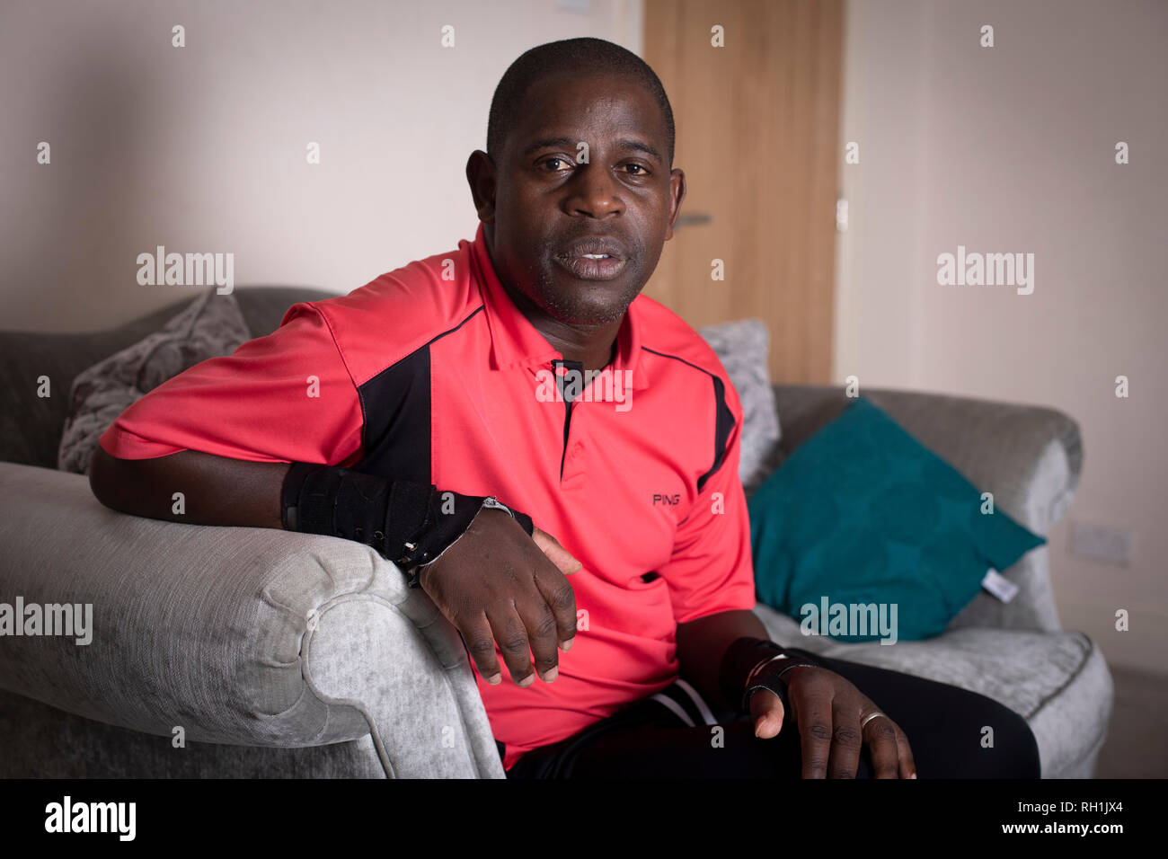 Lenny Johnrose, pictured at his home in Preston, Lancashire.  He was an English former professional football player who during his career played for several clubs including Burnley, Bury and Swansea City. In March 2017, Penrose was diagnosed with motor neurone disease. - Stock Image