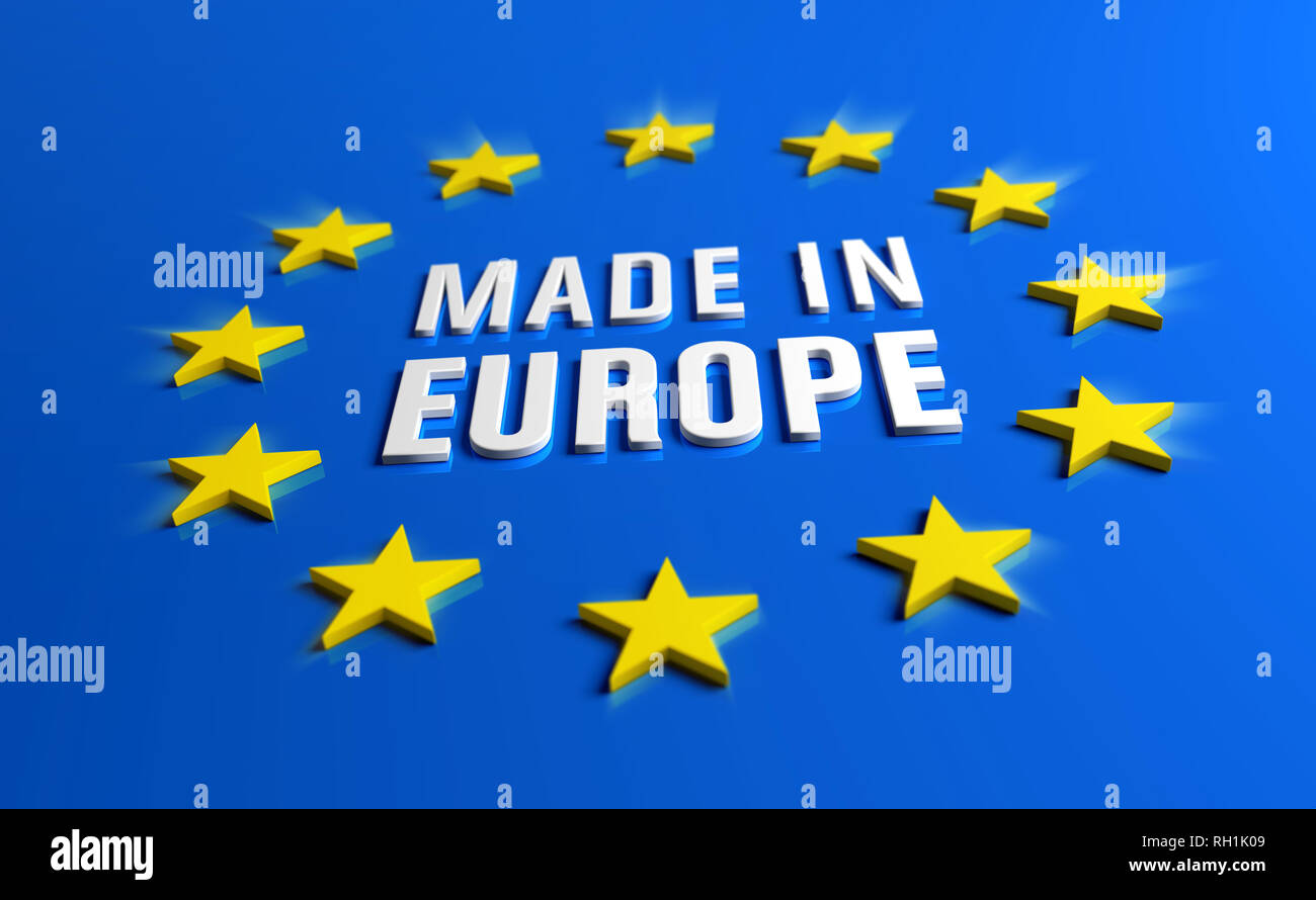 Made in Europe - Guarantee label of European Union with yellow stars on blue background. - Stock Image