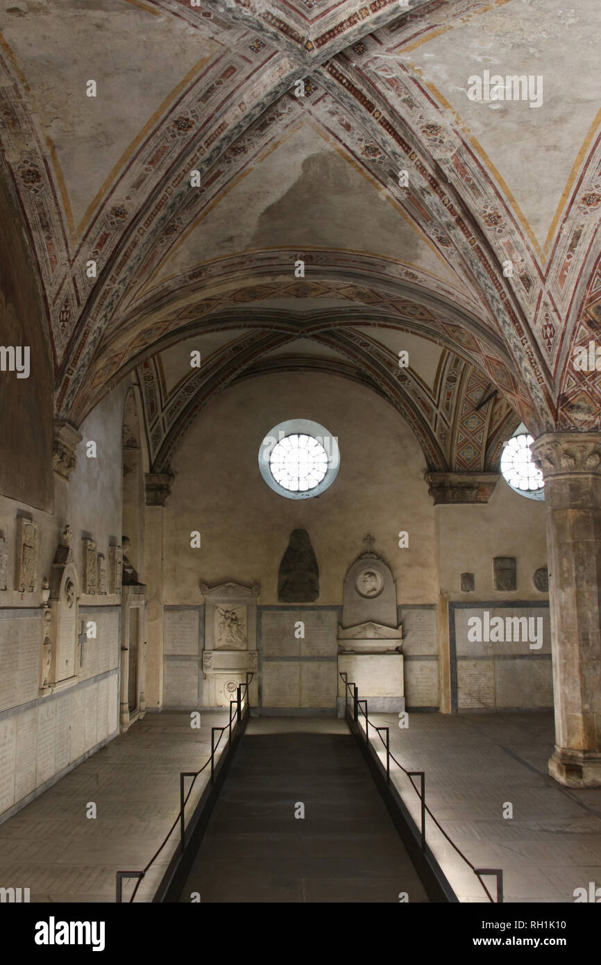 Italy, Florence - April 02 2017: the view of the cloister of the dead or underground cemetery of Santa Maria Novella Church on April 02 2017, Tuscany. Stock Photo