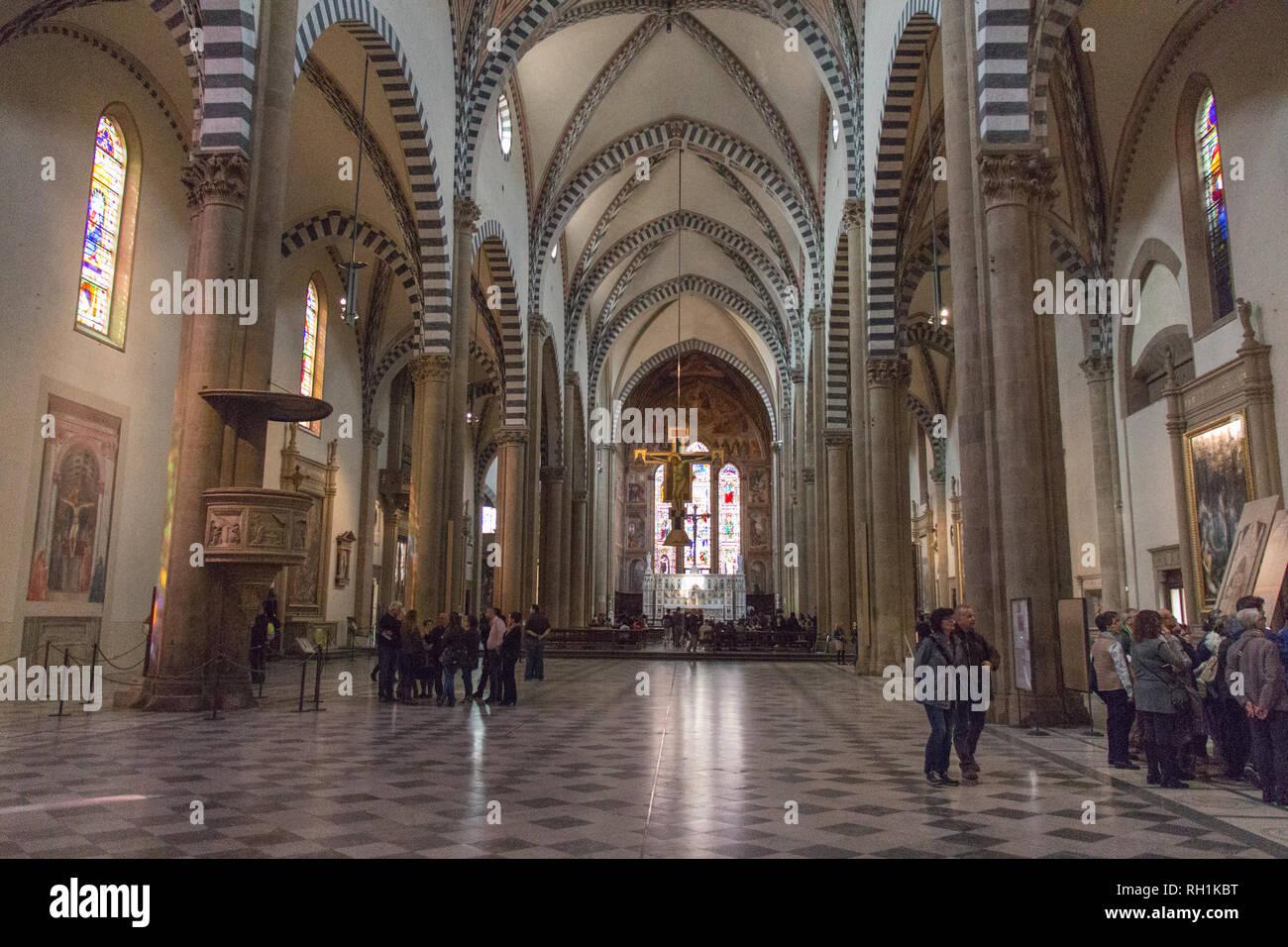Italy, Florence - April 02 2017: the interior view of Santa Maria Novella Church on April 02 2017, Tuscany, Italy. Stock Photo