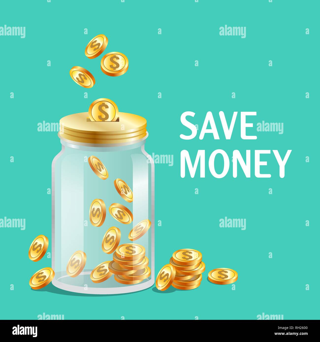 Glass jar with cap, moneybox icon, bright gold coins - Stock Image