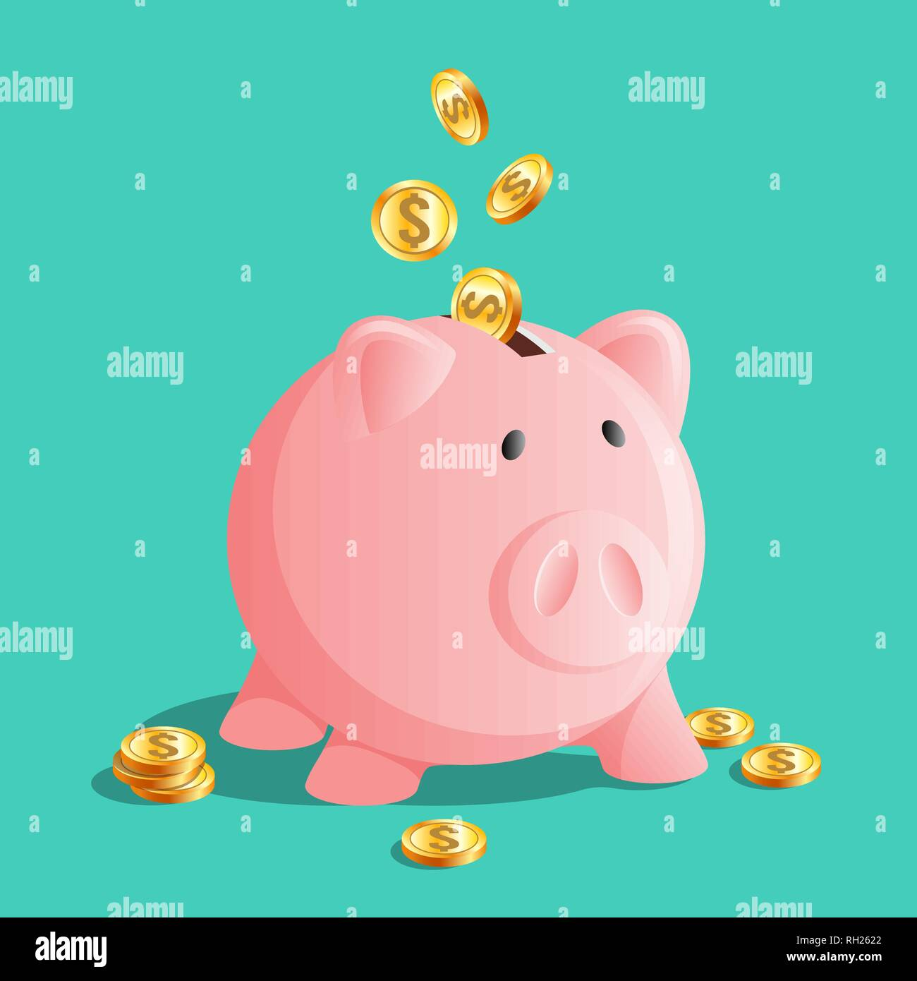 Pink piggy bank icon, moneybox with cold coins Stock Vector