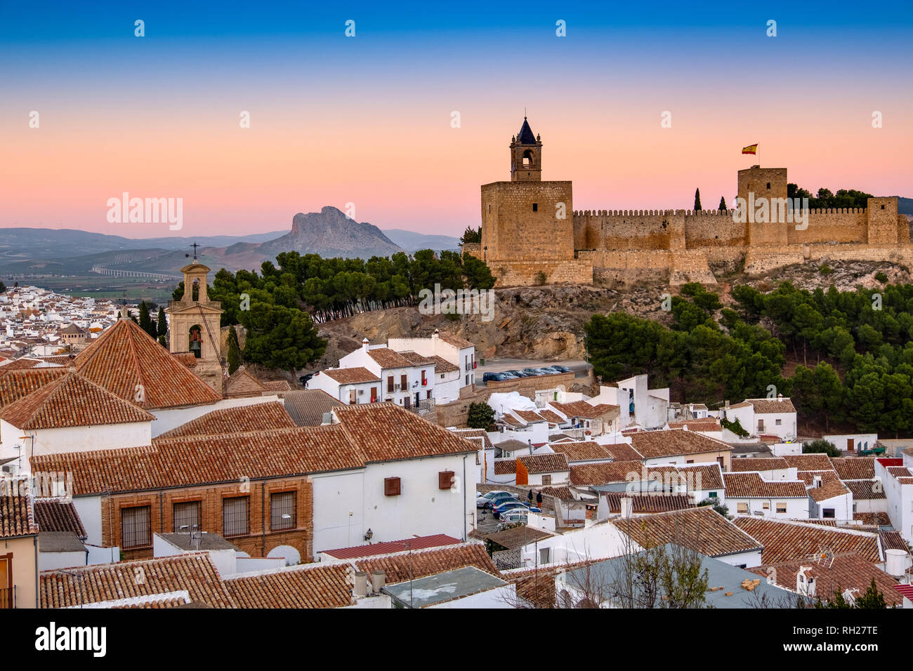 Old town and citadel castle. Monumental city of Antequera, Malaga province. Andalusia, Southern Spain. Europe Stock Photo