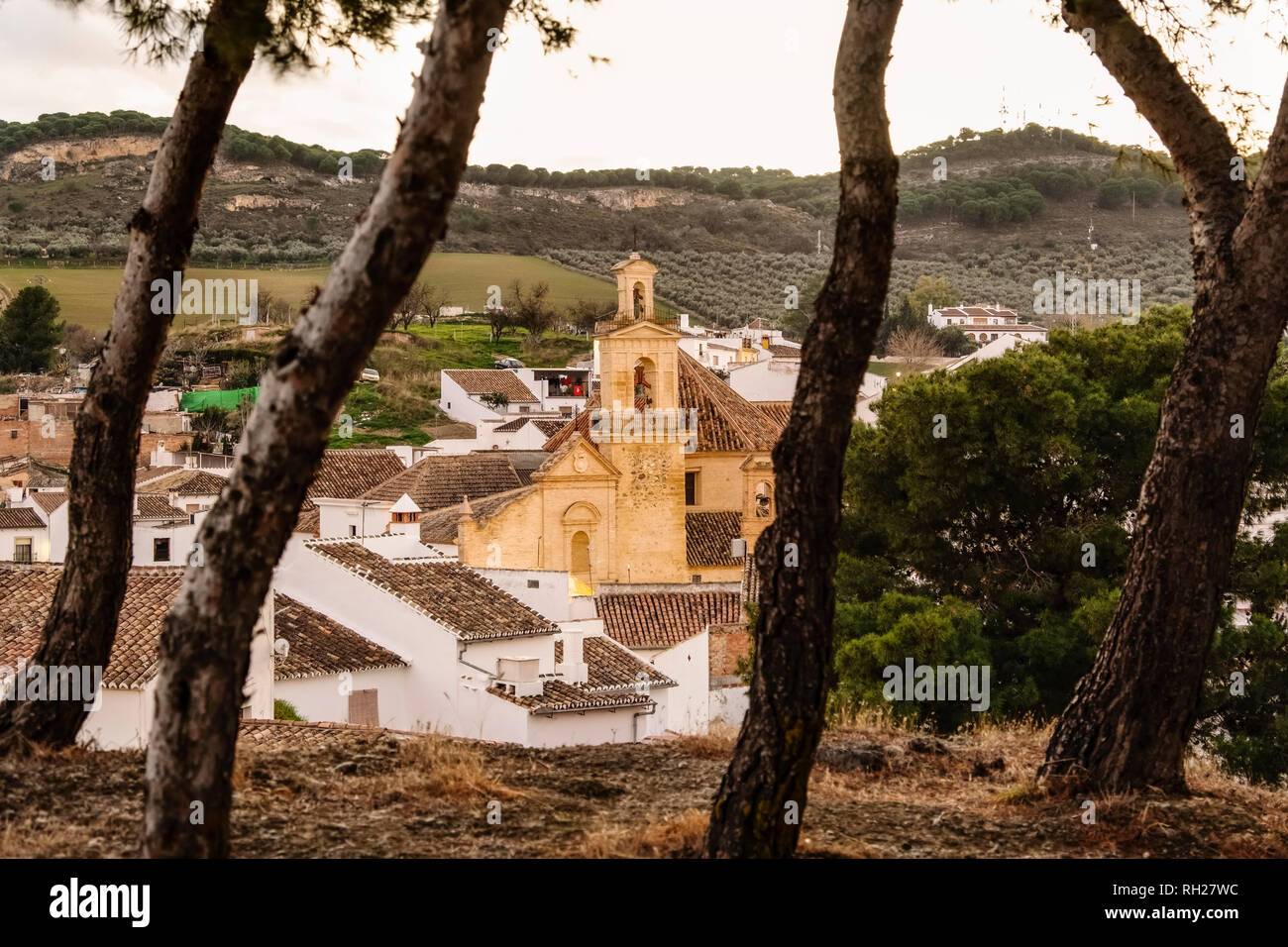 Church Santa María de Jesus. Old town monumental city of Antequera, Malaga province. Andalusia, Southern Spain. Europe Stock Photo