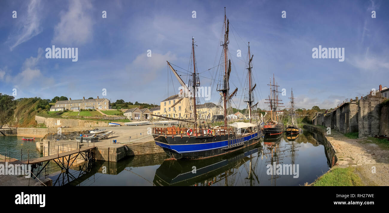 Tall Ships in Charlestown Harbour, Cornwall. Location for the filming of the television series Poldark. Stock Photo