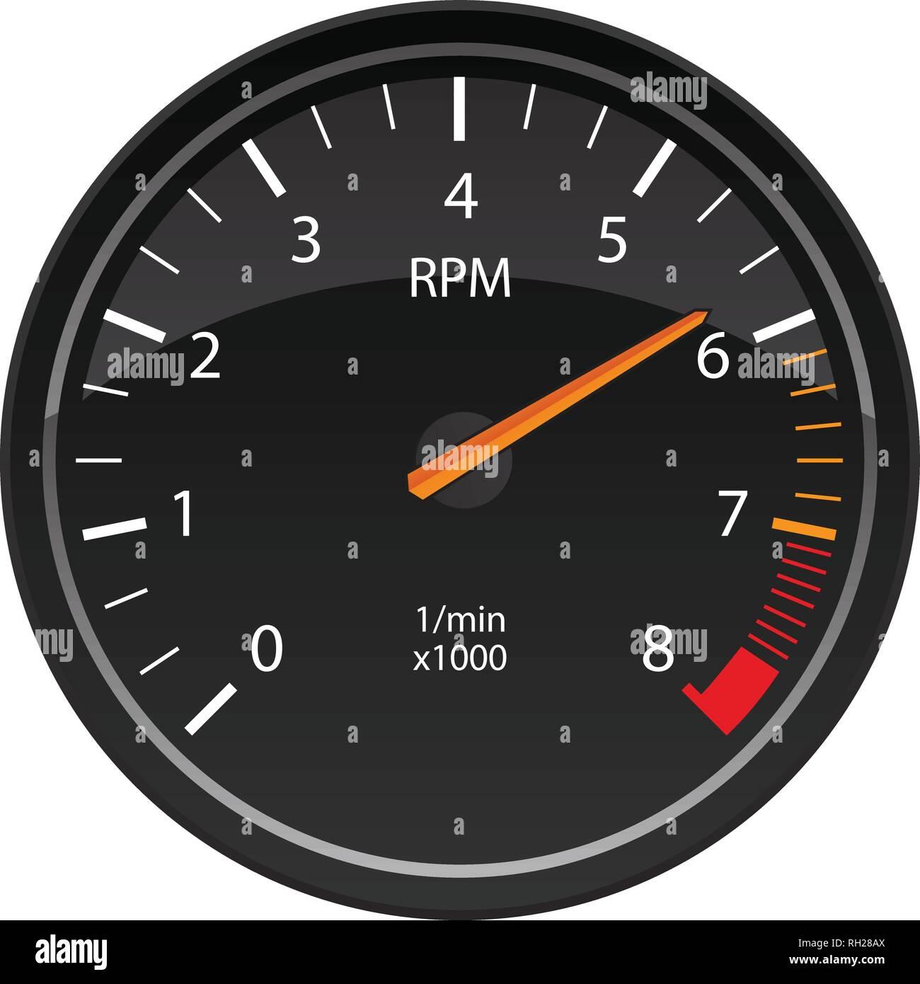 RPM Tachometer Automotive Dashboard Gauge Vector Illustration - Stock Image