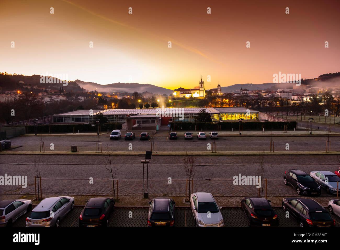 Panoramic view at sunrise, Village Arcos de Valdevez. Viana do Castelo, Alto Minho region. Northern Portugal, Europe - Stock Image