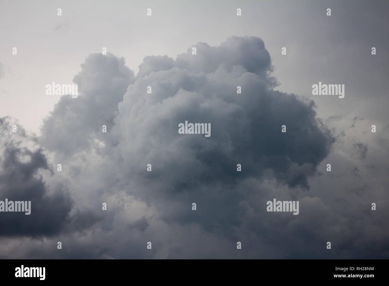 Dark stormy sky. Gloomy clouds. Overcast weather Stock Photo