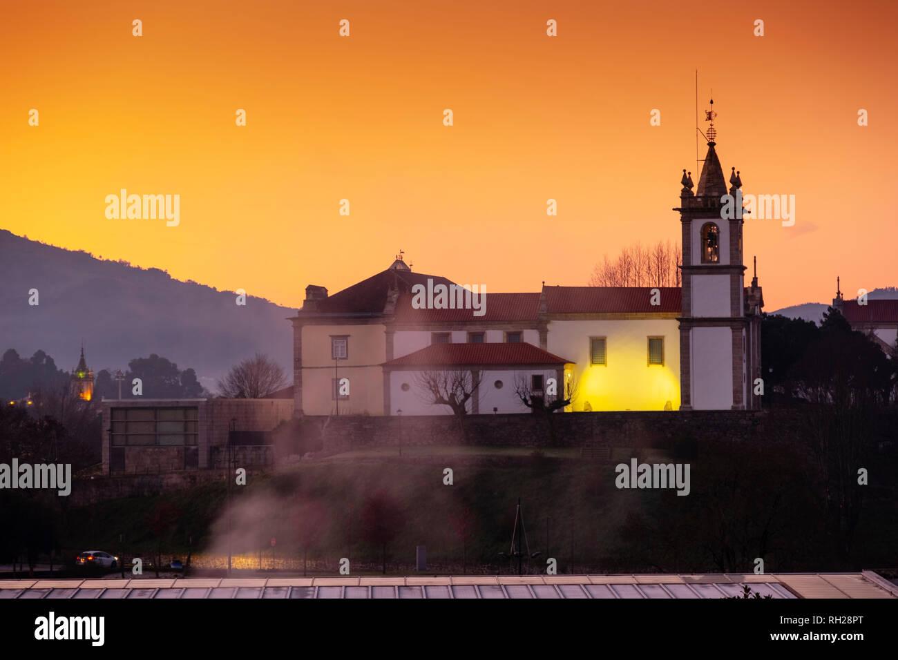 Mayor church at sunrise, Village Arcos de Valdevez. Viana do Castelo, Alto Minho region. Northern Portugal, Europe - Stock Image