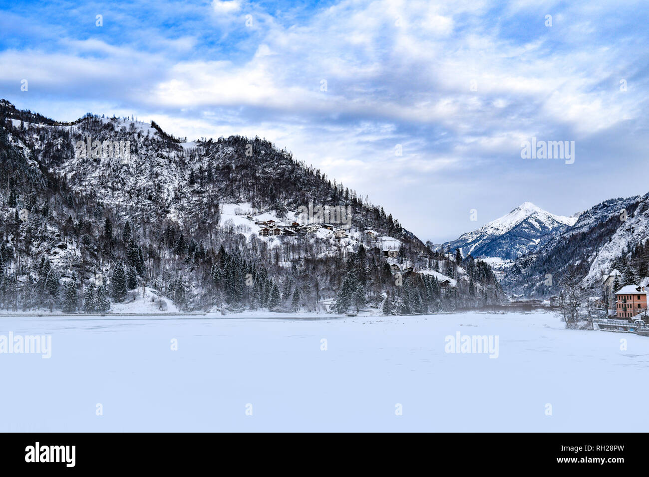 Winter landscape of the Dolomites mountains in Italy. - Stock Image