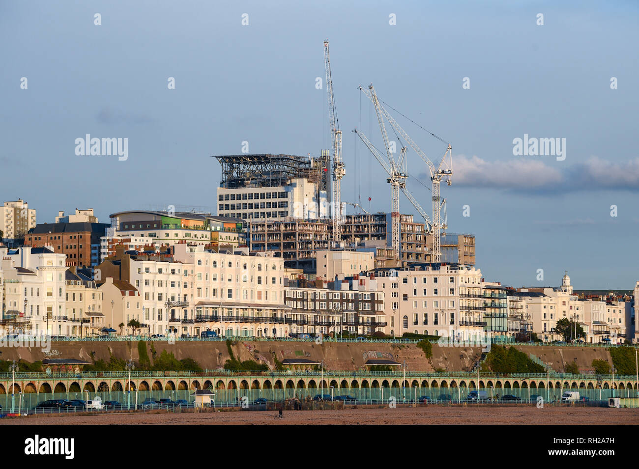 The Royal Sussex County Hospital (RSCH ) new development under construction behind Brighton seafront buildings UK - Stock Image
