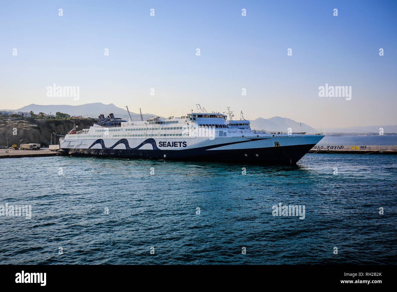 Rafina, Attica, Greece - Ferry of the Seajets line runs from the port of Rafina to the Cyclades Islands.  Rafina, Attika, Griechenland - Faehre der Li - Stock Image