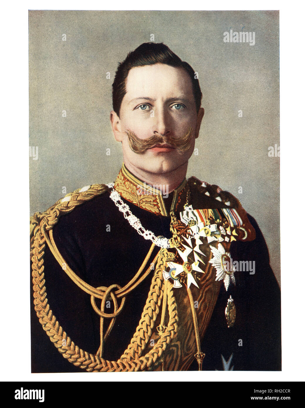 Wilhelm II, German Emperor the last German Emperor (Kaiser) and King of Prussia, reigning from 15 June 1888 until his abdication on 9 November 1918 - Stock Image