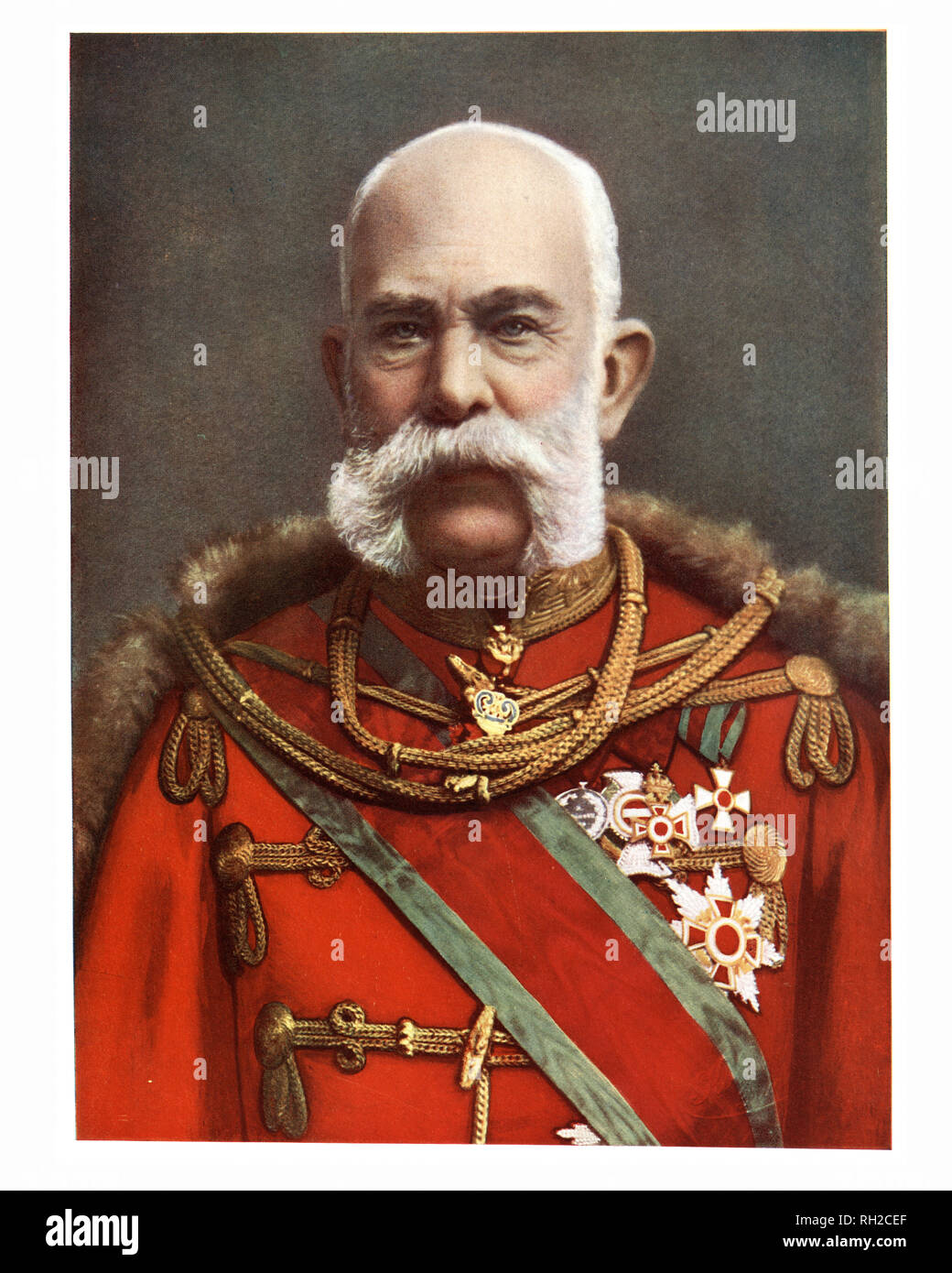 Franz Joseph I or Francis Joseph I (18 August 1830 to 21 November 1916) was Emperor of Austria, King of Hungary, and monarch of many other states of the Austro-Hungarian Empire - Stock Image