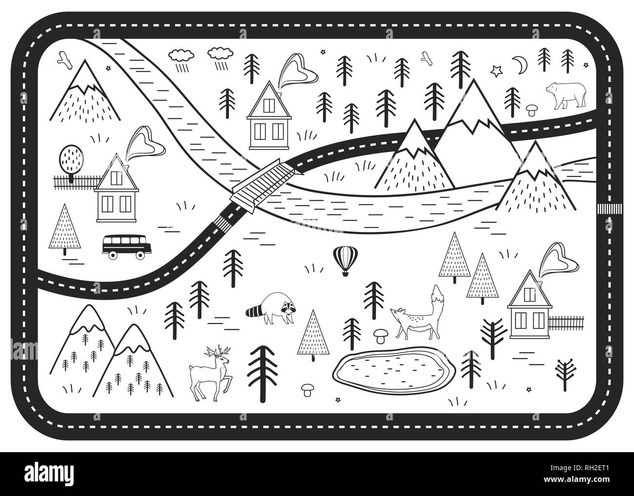 Black and White Kids Road Play Mat. Vector River, Mountains and Woods Adventure Map with Houses and Animals. Scandinavian Style Art Print. - Stock Vector