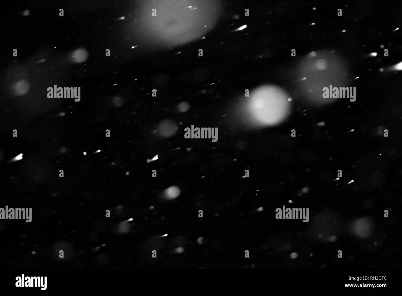 Isolated on black snow fall texture. Snow blizzard. Snowflakes isolated for design. Design element - Stock Image