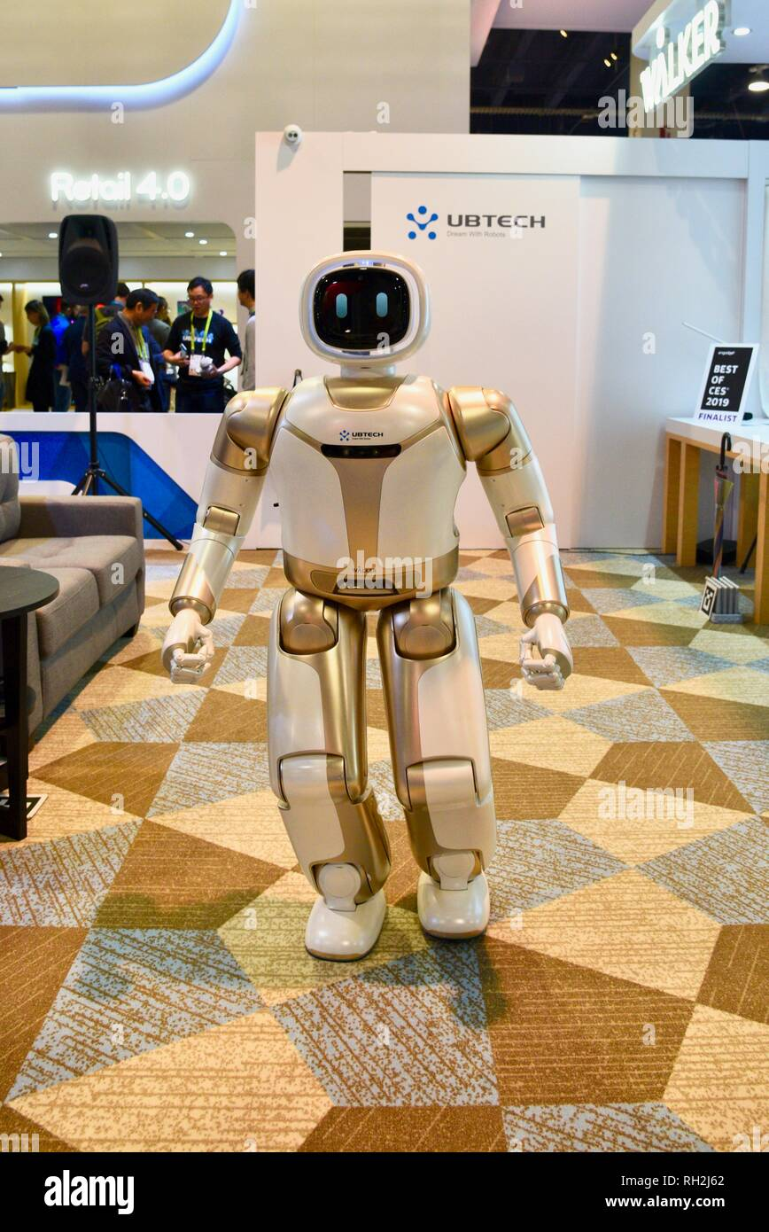 Ubtech's humanoid robot, Walker, demonstrates robotic skills at exhibit booth at CES, world's largest electronics trade show, Las Vegas, USA Stock Photo