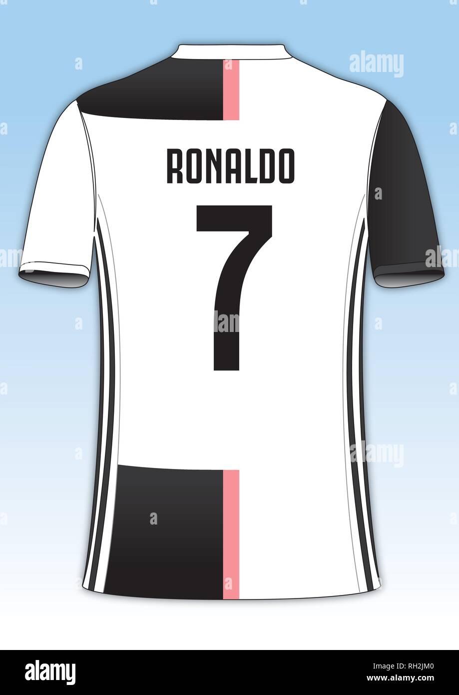 best cheap d4869 2f92d Cristiano Ronaldo Juventus football team jersey, vector ...