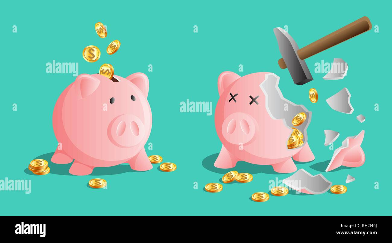 Pink piggy bank icon and broken piggy moneybox with cold coins and a hammer - Stock Image