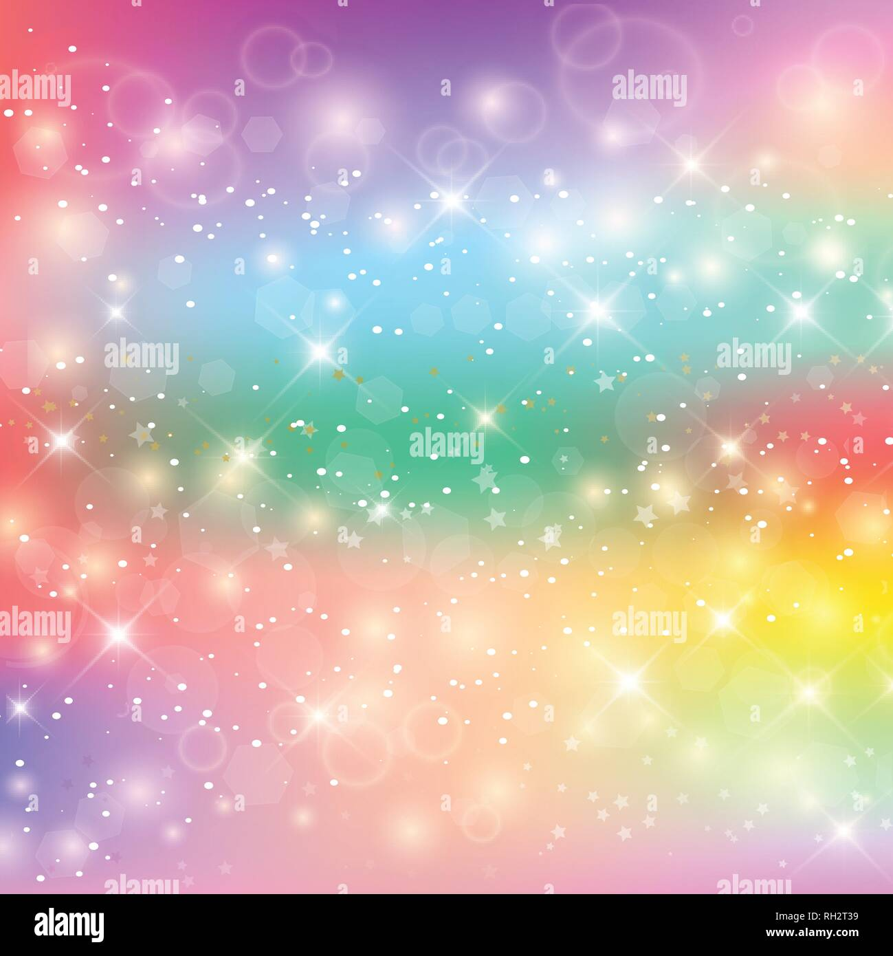 Unicorn Rainbow Background. Holographic Sky In Pastel Color. Bright Mermaid Pattern In Princess Colors. Vector Illustration. Fantasy Gradient Colorful - Stock Vector