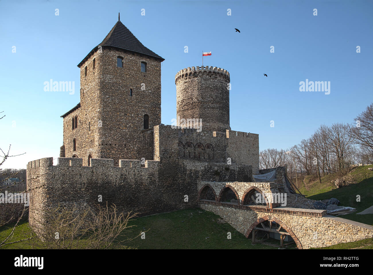 Polish castles, castle in Bedzin. Stock Photo