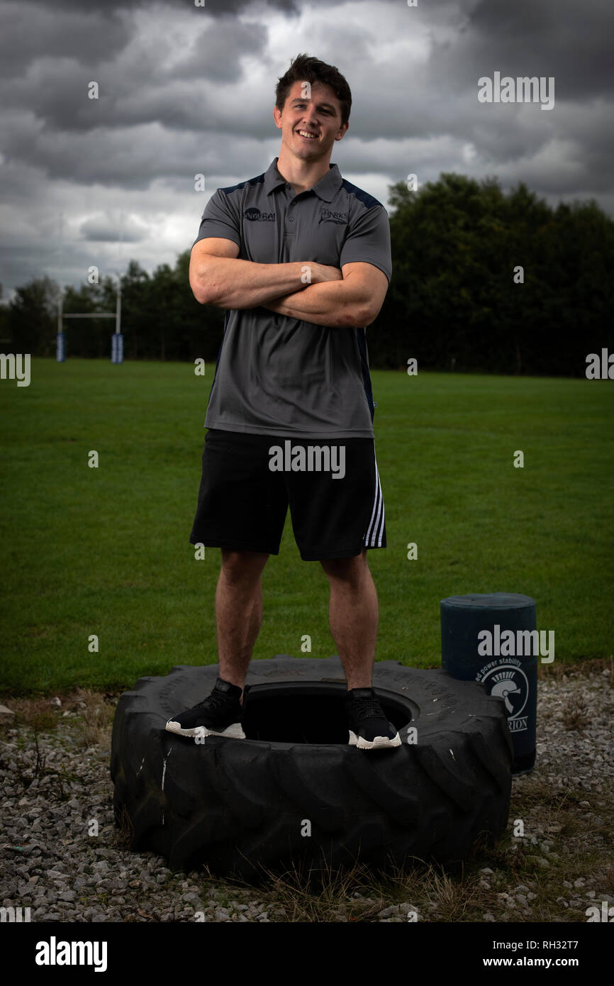 England international rugby union player Tom Curry, pictured at Sale Sharks training ground, Carrington, Cheshire, the club he plays for. - Stock Image