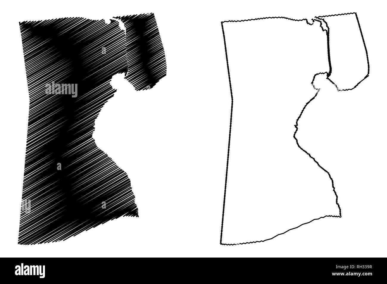 Suez Governorate (Governorates of Egypt, Arab Republic of Egypt) map vector illustration, scribble sketch Suez map - Stock Image