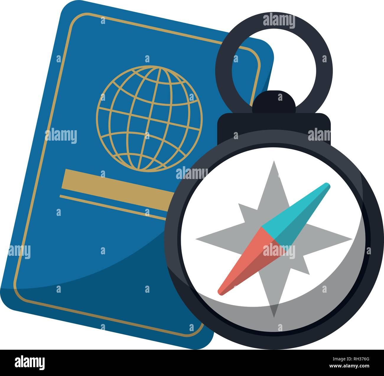passport and navigation compass - Stock Image
